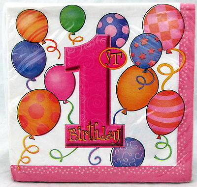 First Birthday Girl Pink Luncheon Napkins 13 in 16 ct Party 1st Balloons Party - First Birthday Napkins