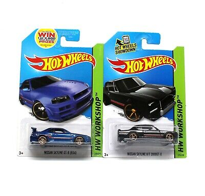 New HW Hot Wheels Nissan Skyline GTR R34 & H/T 2000GT-X Diecast Blue Black 1:64