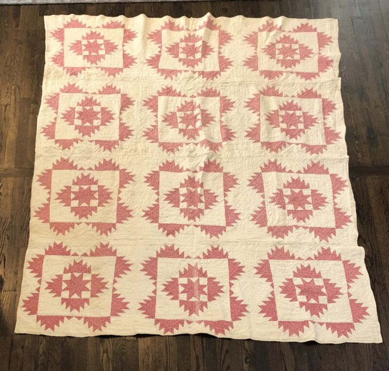 Fabulous Antique 1880s  Pink And White Sunburst/Sawtooth Star Quilt
