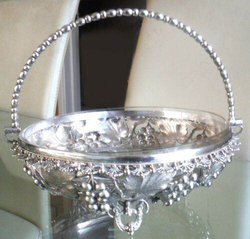 VERY ORNATE VICTORIAN SILVER PLATED VINE & CLUSTER BASKET - GLASS LINER
