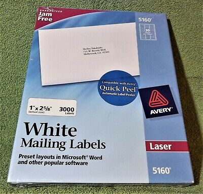 1 Box Of 3000 Avery 5160 Address White Mailing Shipping Labels 1 X 2 58