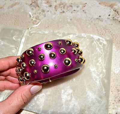 NIB $308 JOANNA LAURA CONSTANTINE Pink Lucite Gold Studs Bangle Bracelet M/L