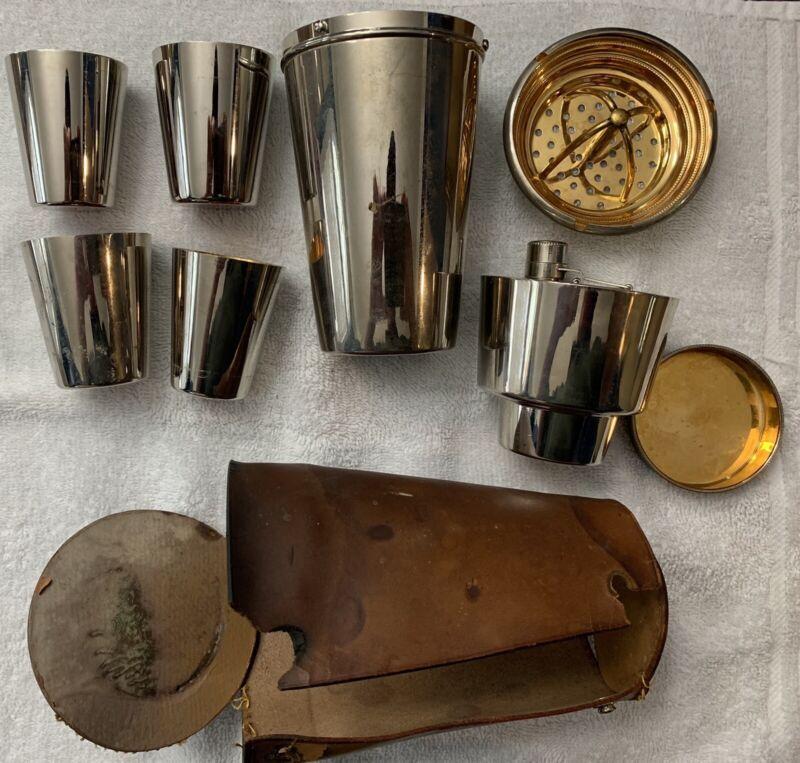 Antique 9 Piece German Cocktail Shaker Flask Travel Set w Original Case