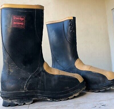 Iron Age Mens Work Boots Steel Toe Meta pro Steel Midsole Black Size 10
