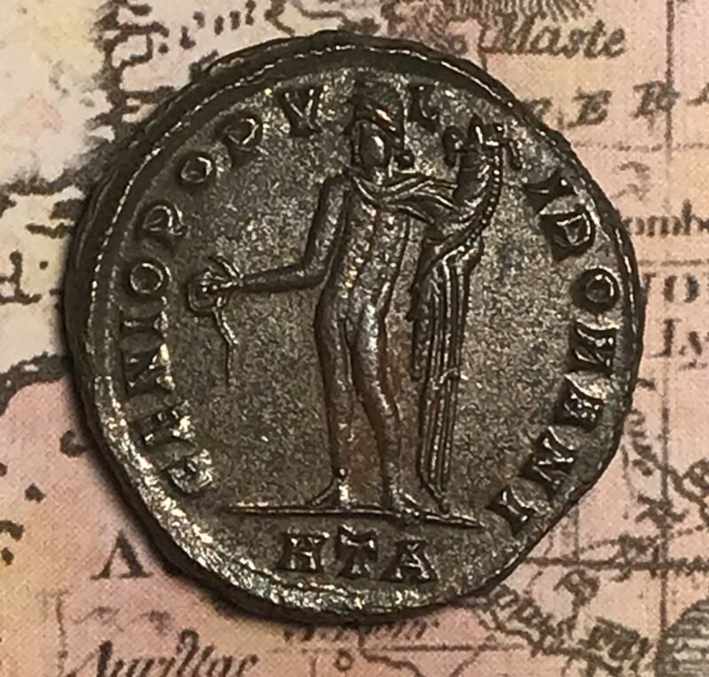 AD: 284-305  DIOCLETIAN BRONZE-SILVERED FOLLIS OF ANCIENT ROME COIN.