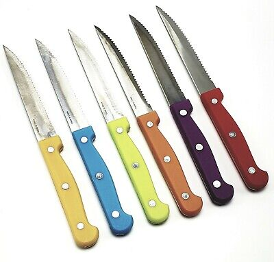 KLOK Cutlery 7 Pc Stainless Steel Steak Knife Set Colored Handles Wood - Cutlery Steak Knife Set