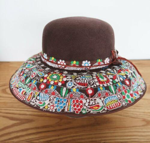 Vtg Borsalino Sombrereria Castillo Peruvian wool embroidered large brim hat