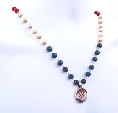 Croatia Flag Necklace Pendant Beaded Chain Wooden Beads Croatian Soccer Fan Gift