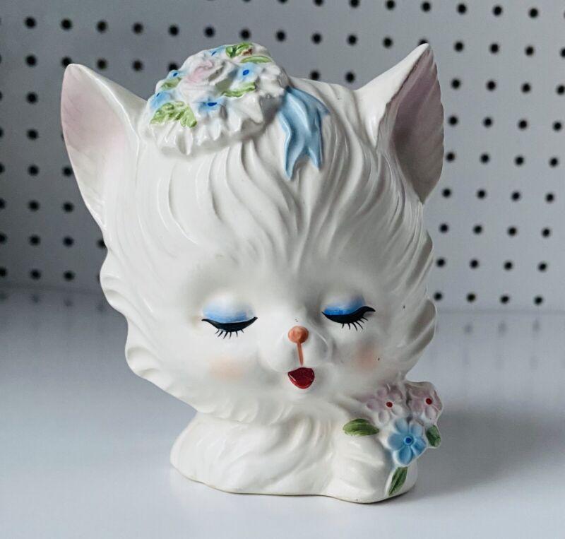vintage Napcoware Kitten planter Napco white Kitten. White Cat Planter.