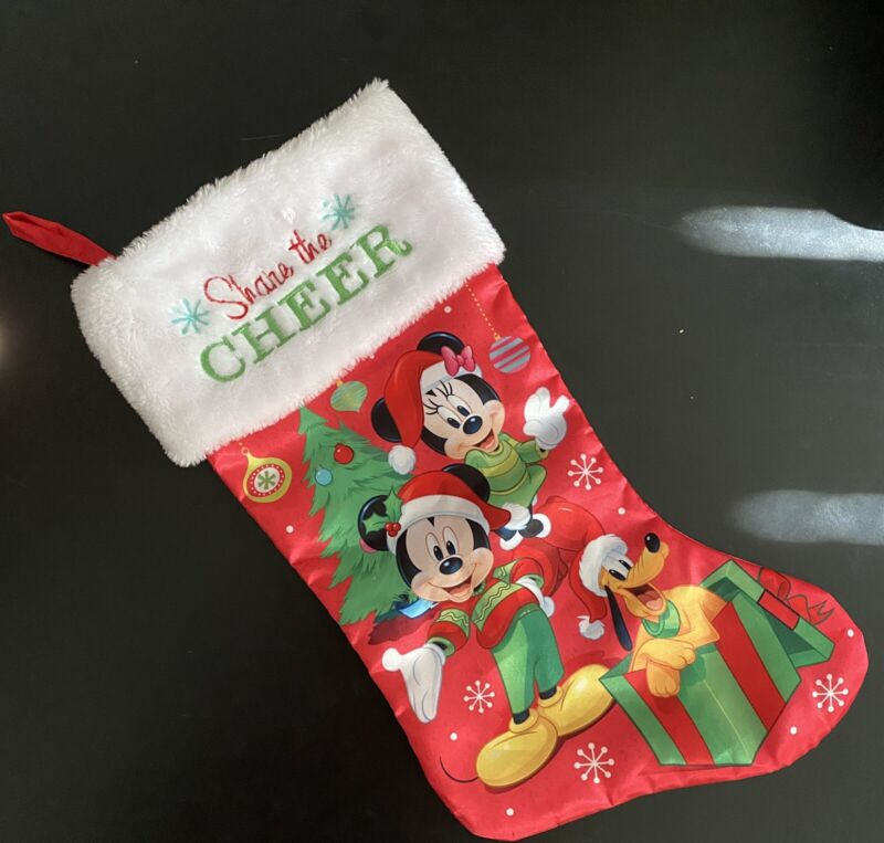 Disney 18 Inch Christmas Stocking Minnie And Mickey Mouse Share The Cheer