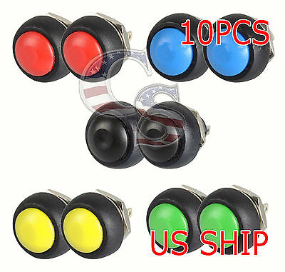 10x Color M4 12mm Waterproof Momentary Onoff Push Button Round Spst Switch