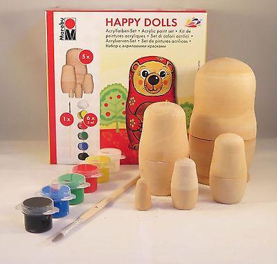 Marabu Matryoshka Set HAPPY DOLLS 5teilig aus Holz zum selber gestalten 6 Farben