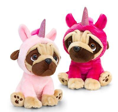 Hund Kostüme Einhorn (Plüschtier Hund Mops im Einhorn Kostüm Kuscheltier, Stofftier pink rosa ca. 14cm)