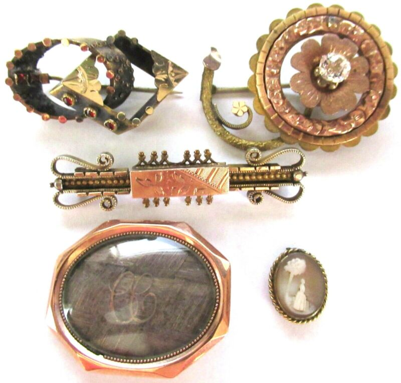 Great Lot of Victorian 9K Rolled Gold & Gold REPAIR Pins Cameo Hair Jewelry MORE