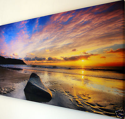 "SUNSET  BEACH  WALL ART CANVAS PICTURE  LARGE 18"" X 32"""