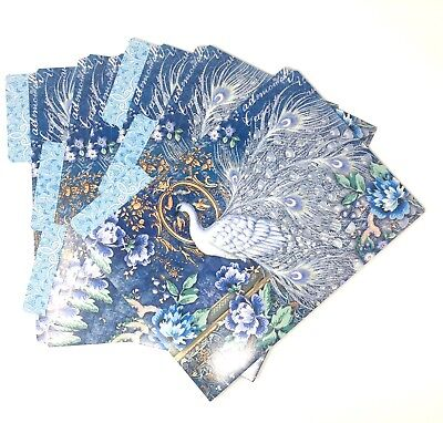 Punch Studio Set Of 6 Document File Folders Blue Peacock 65723 11.75