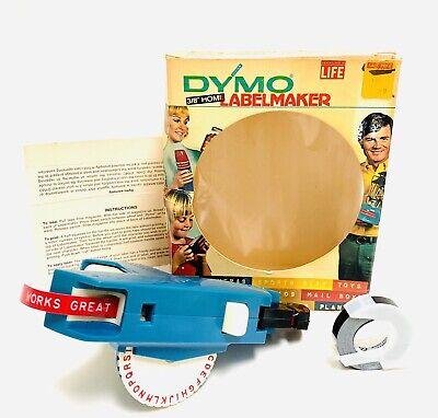 Vintage 1971 Blue Dymo Home Label Maker Model 1800 Awesome Original Box 1 Tape