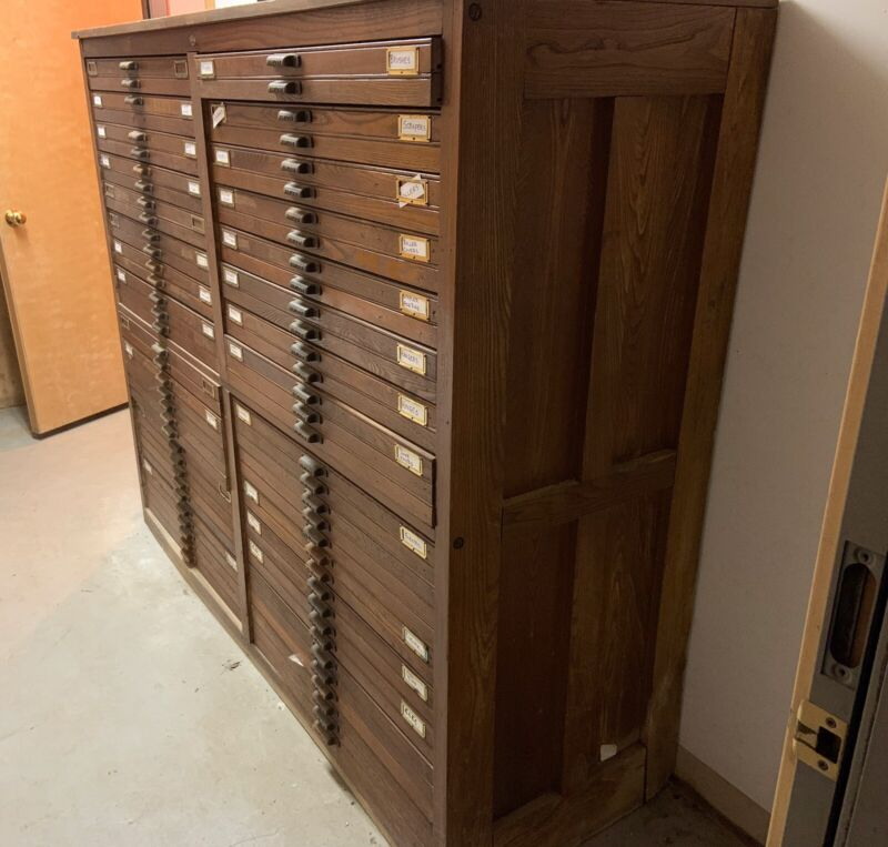 "HAMILTON PRINT BLOCK CABINET. 59"" H and 70"" Wide. 24 Drawers"