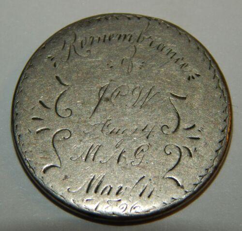 """Love Token """"Remembrance of J.C.W Aug. 4 M.A.G May 11,1896"""" on Liberty """"V"""" Nickel"""
