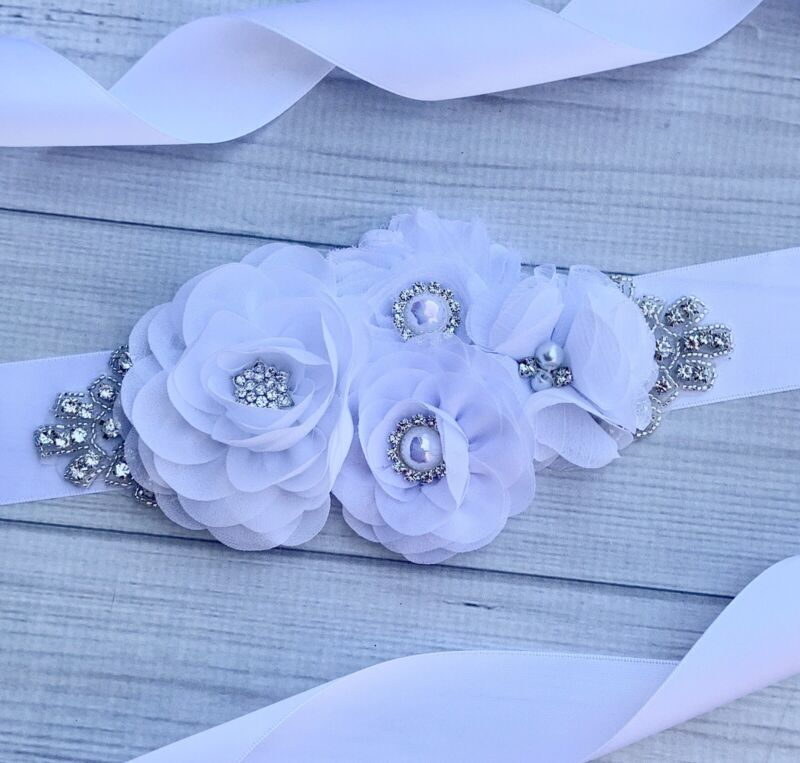 Wedding Maternity Sash Belt ,Rhinestone and Flower Bridal Maternity Sash Belt