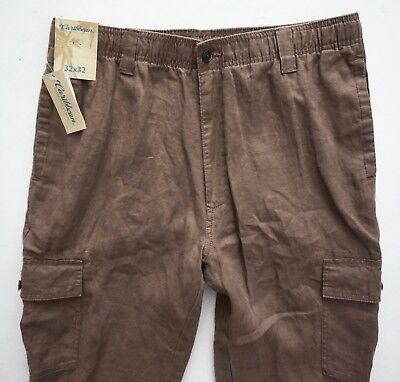 Caribbean 100% Linen Nwt Dusty Brown Elastic Waist Drawstring Cargo Pants (Drawstring Cargo)