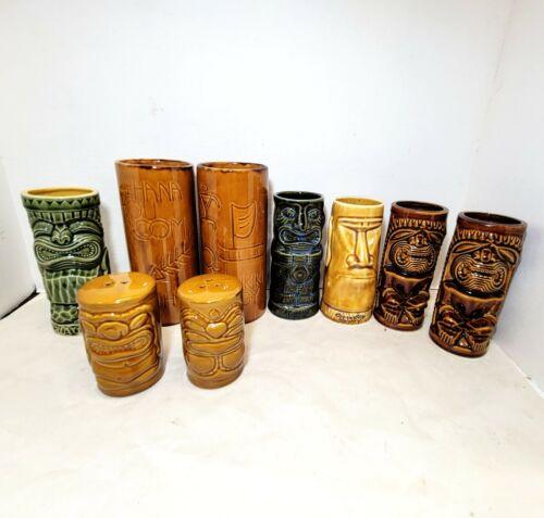 9 Lot Vintage TIKI MUGS & Salt Pepper Shakers Japan 1950s Orchids of Hawaii ++