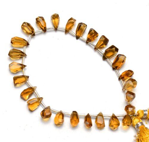"Natural Gem Honey Quartz Nugget Cut Drop Shape Beads 8"" Jewelry Supplies 68Cts."