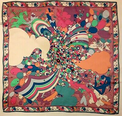 Jane Carr Silk Square Psychedelic 60s Style Graphic Multi Colour Scarf