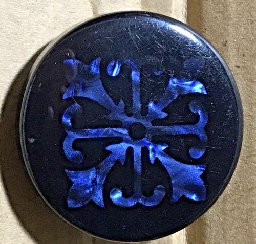 """Fabulous Lg 1 1/4"""" DUP Design Under Plastic Button BLACK W SHIMMERY BLUE Design"""