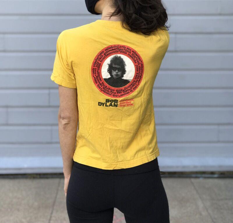 Bob Dylan European Summer Tour 2006 Graphic Shirt Yellow Tee Size XS