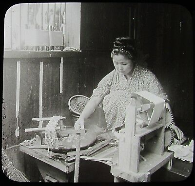 Glass Magic Lantern Slide WOMAN REELING SILK FROM COCOONS C1910 PHOTO JAPAN