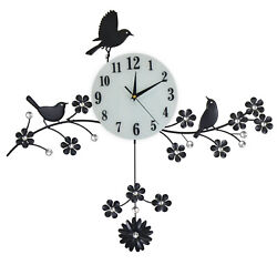 Large 3 Bird Pendulum Wall Clock with Crystal Accents