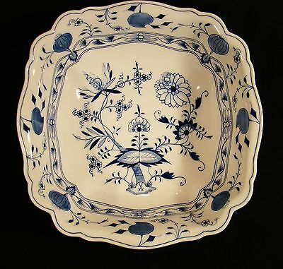 """Meissen Porcelain First Choice Onion Pattern Blue & White Large Square Bowl 12"""""""