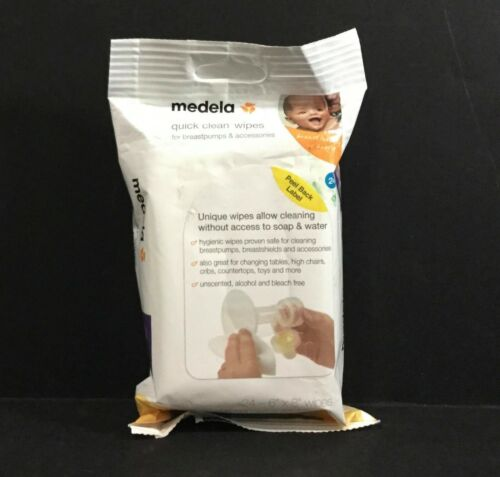 "Medela Quick Clean Wipes - 24 Count - 6x4"" - Sealed!"