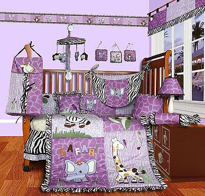 Baby Boutique - Safari - 14 Pcs Girl Nursery Crib Bedding Set incl. Music Mobile