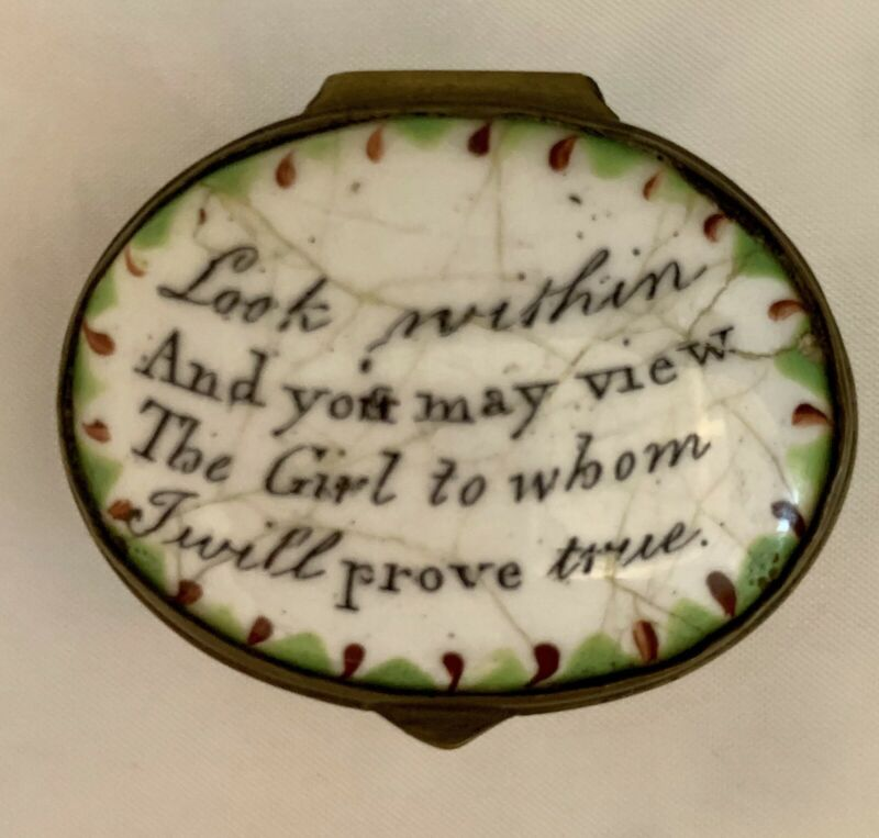 """Antique Bilston Battersea Trinket/Snuff box, """"Look Within and You May View..."""""""