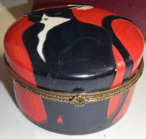 NIB LARGE BENAYA HAND ENAMELLED PORCELAIN BLACK CAT TRINKET BOX 2006