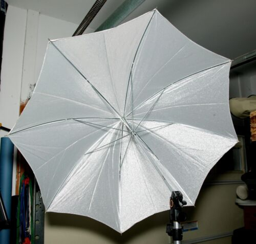 Vintage Two Studio Umbrellas: Sparkling Silver & White With Silver Covering. EX.
