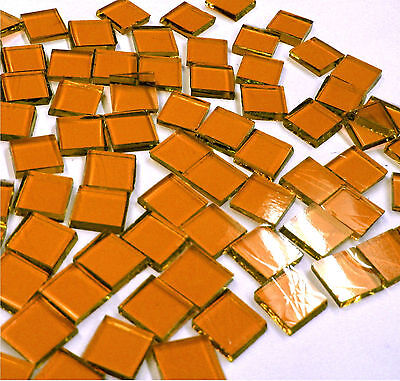 "110 Mosaic Tiles 1/2"" AUTUMN ORANGE Warm Amber Brown Artique Stained Glass"