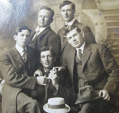 Antique Vintage Five Guys Hand Holds Young Handsome Men Tlc Gay Int Rppc Photo