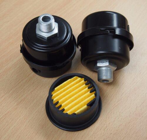 "Lot of (2) Air Compressor Metal Air Filter Silencer 3/8"" MPT Paper Cartridge"