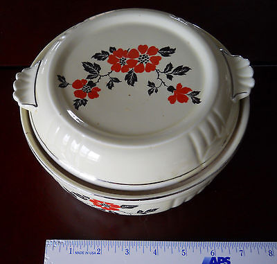 Vintage Hall's Superior Quality Red Poppy Covered Casserole Dish