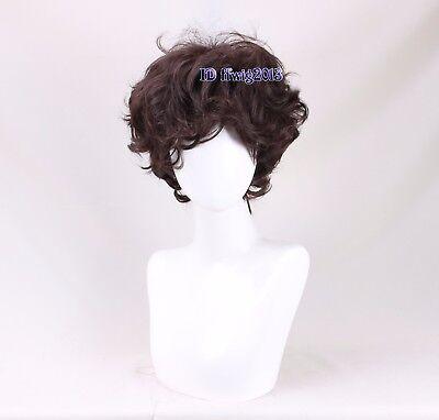 Men Short curly Wig Dark Brown Synthetic Natural Full Wigs +a wig cap (Mens Brown Wig)