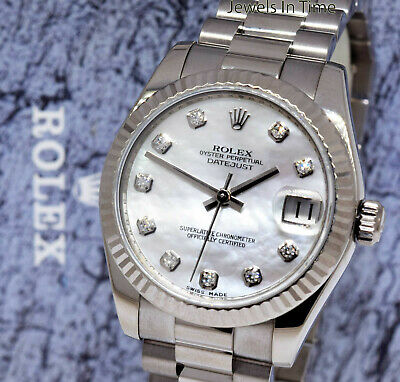 Rolex Datejust 31mm 18k White Gold MOP Diamond Dial Ladies Watch 178279