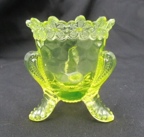 Vintage Degenhart Glass Yellow Vaseline Forget Me Knot Toothpick Holder Unmarked