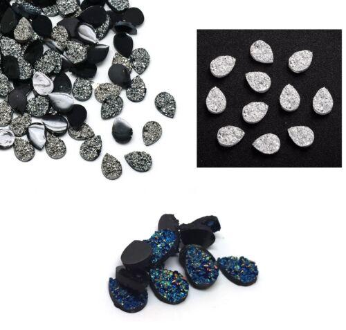 10 pieces - Teardrop Resin Faux Druzy Drusy Cabochons - 3 Colors - 14mm x 10mm