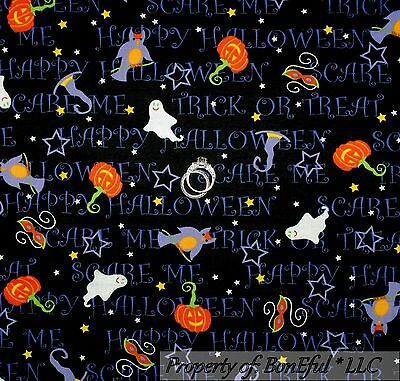 BonEful Fabric FQ Cotton Quilt Orange B&W Pumpkin Halloween Word Cat Star - Halloween Cat Mask Craft