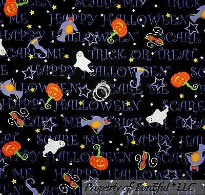 Word Girl Costume Halloween (BonEful Fabric FQ Cotton Quilt Orange B&W Pumpkin Halloween Word Cat Star)