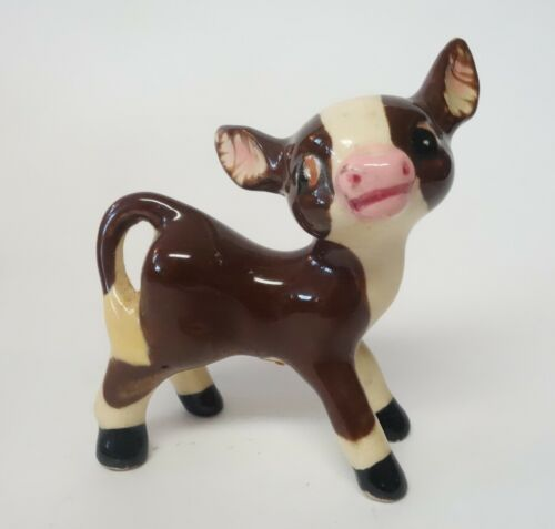 VINTAGE COW CALF FIGURINE PORCELAIN POTTERY MINIATURE MADE IN JAPAN