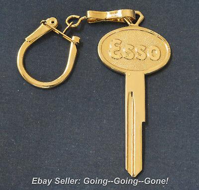 18Kt Gold Crest Esso Key Blank On Vtg Key Chain Ford Lincoln Mercury 1952 1966